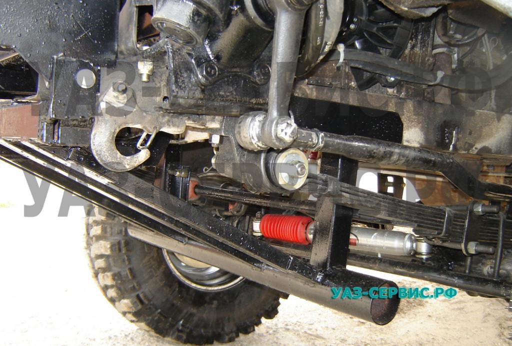 Защита рулевых тяг УАЗ с местом для установки лебедки собственного производства
